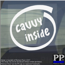 1 x Cavvy Inside-Window,Car,Van,Sticker,Sign,Adhesive,Dog,Pet,On,Board,Animal